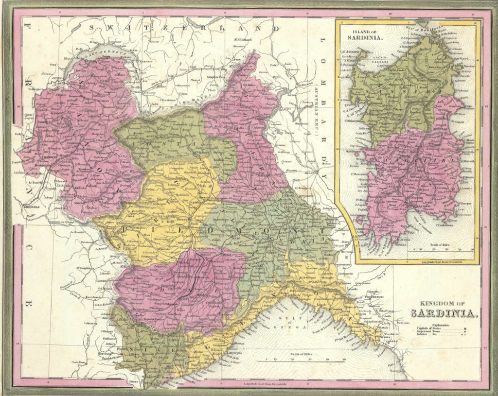 Map of the Kingdom of Sardinia, 1850, Mitchell and Cowperthwait
