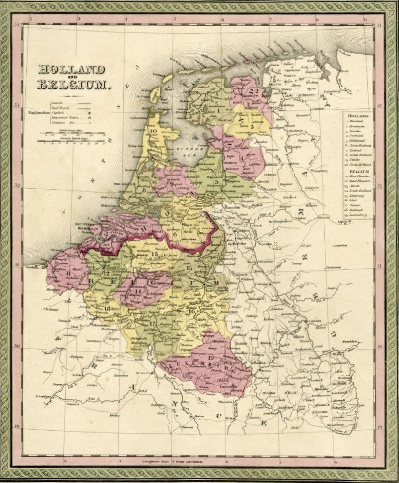 Map of Holland and Belgium, 1850, Mitchell and Cowperthwait