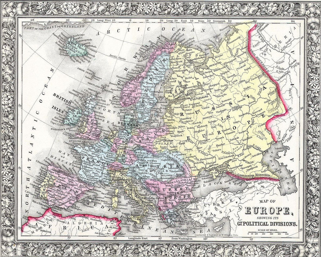 Map of Europe, 1860, Mitchell