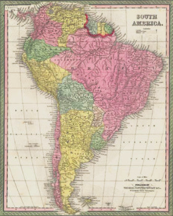 Map of South America, 1850, Mitchell and Cowperthwait
