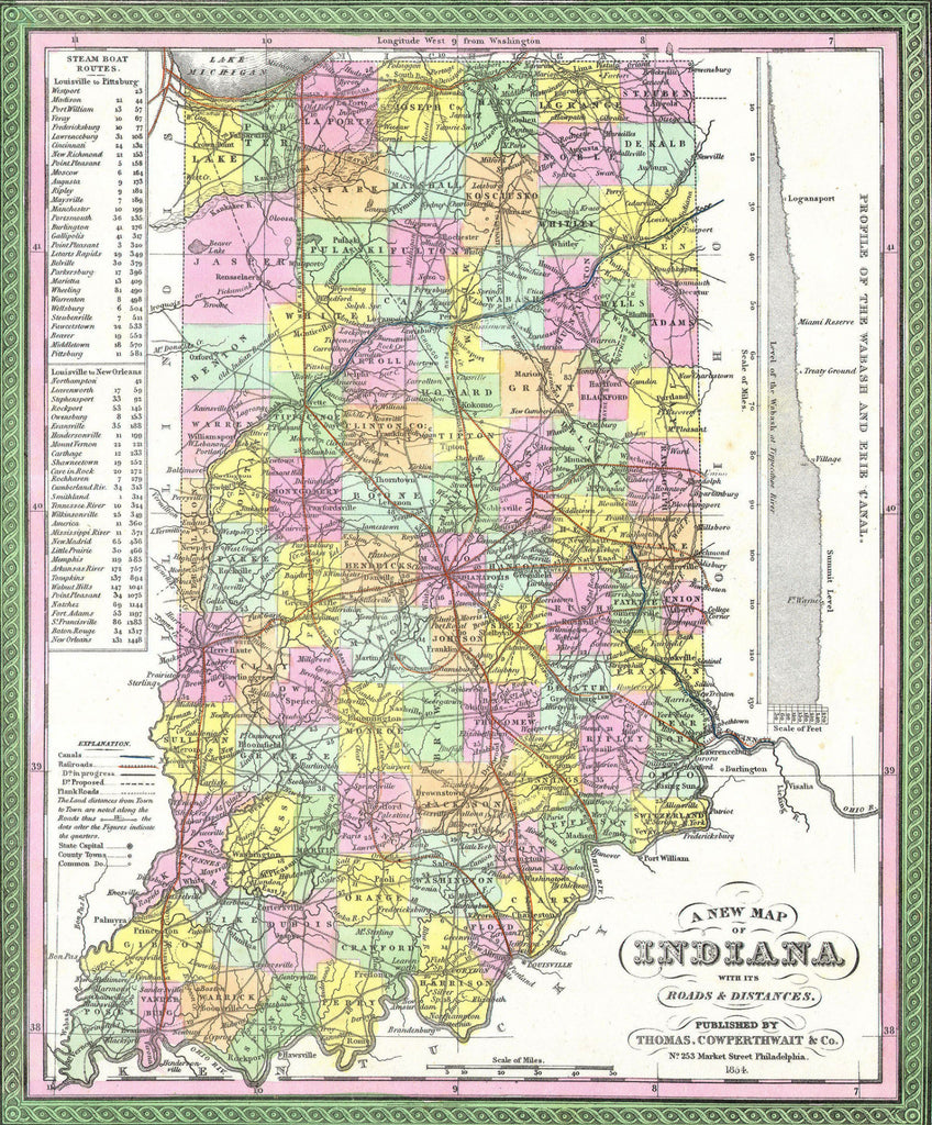 Map of Indiana, 1850, Mitchell and Cowperthwait