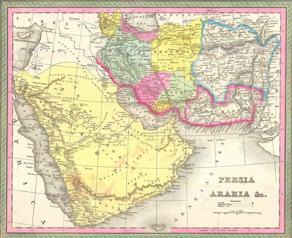 Map of Persia Arabia, 1850, Mitchell and Cowperthwait