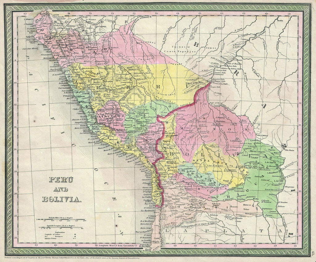 Map of Peru and Bolivia, 1850, Mitchell and Cowperthwait
