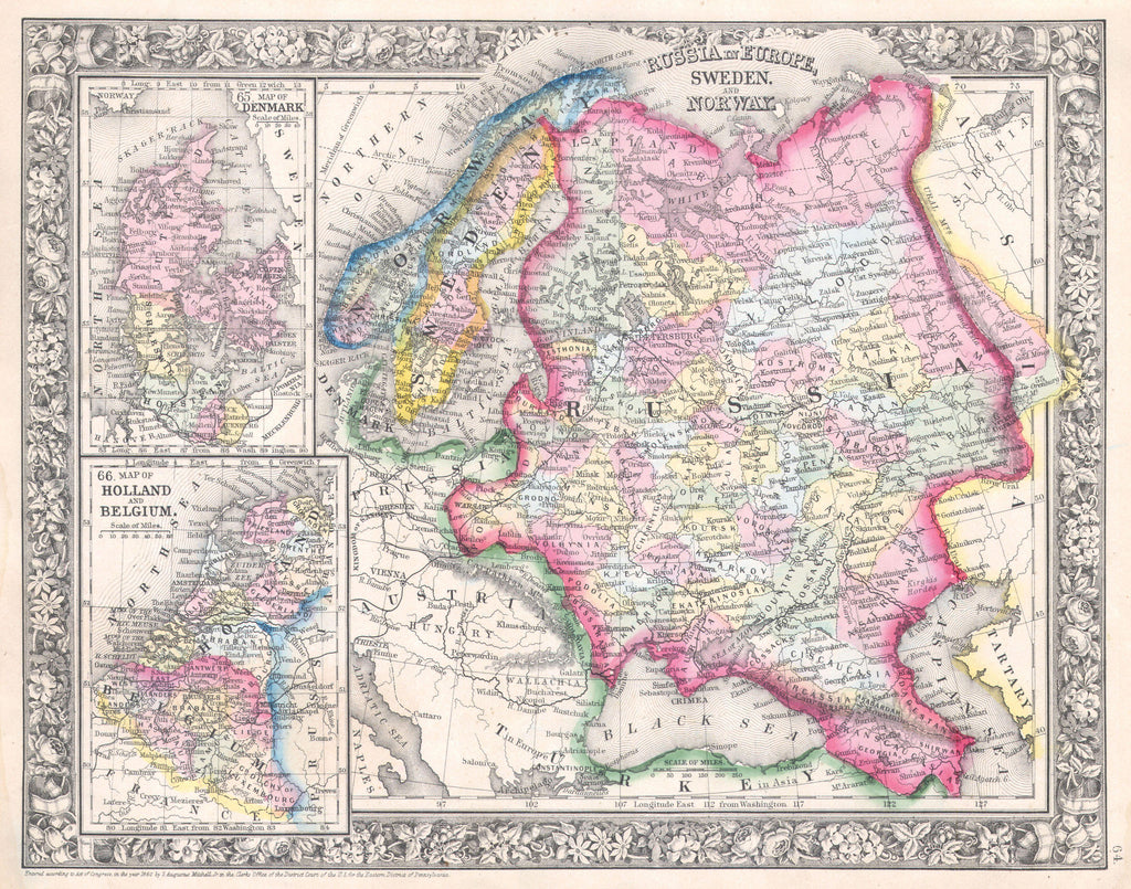 Map of Russia, Sweden and Norway, 1860, Mitchell