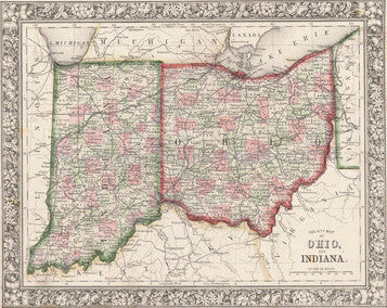 Map of Ohio and Indiana, 1863, Mitchell