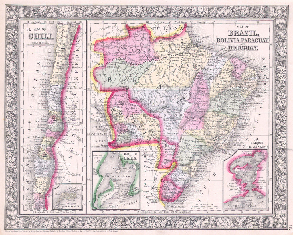 Map of Chili, Brazil, Bolivia, Paraguay and Uruguay, 1860, Mitchell