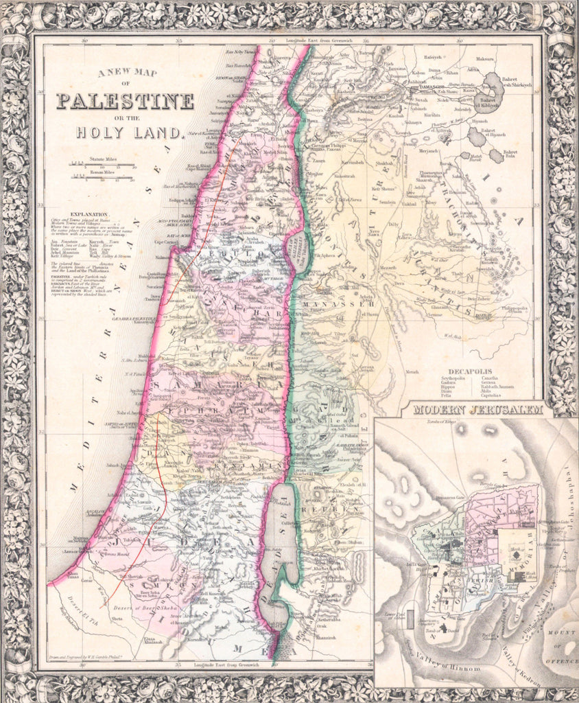 Map of Palestine, 1864, Mitchell