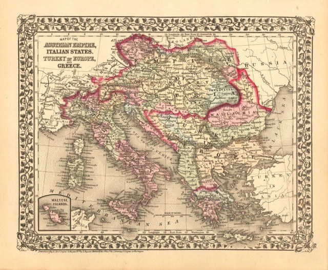Map of Austria, Italy, Turkey and Greece, 1877, Mitchell