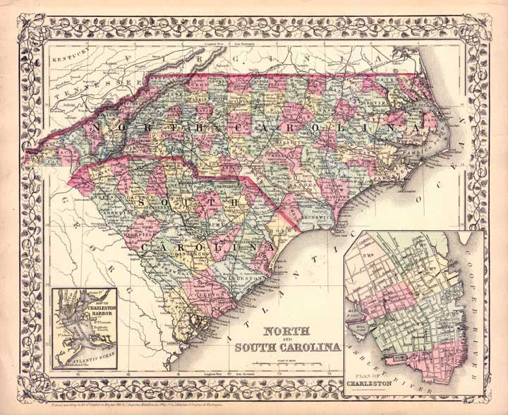 Map of North and South Carolina, 1877, Mitchell