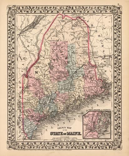 Map of Maine, 1878, Mitchell