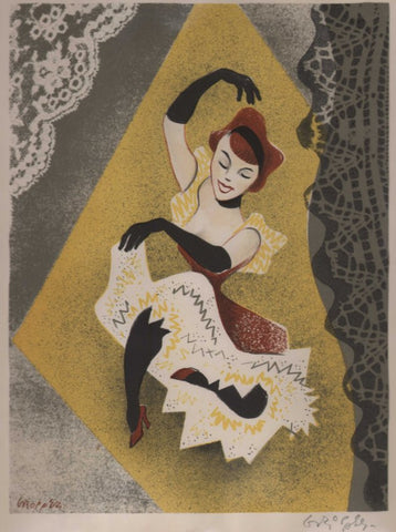 An original lithograph of a dancer by William Gropper