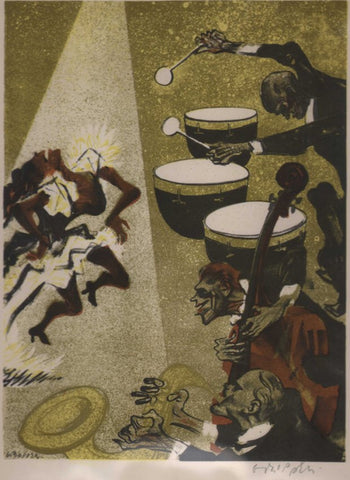 An original lithograph of a band by William Gropper