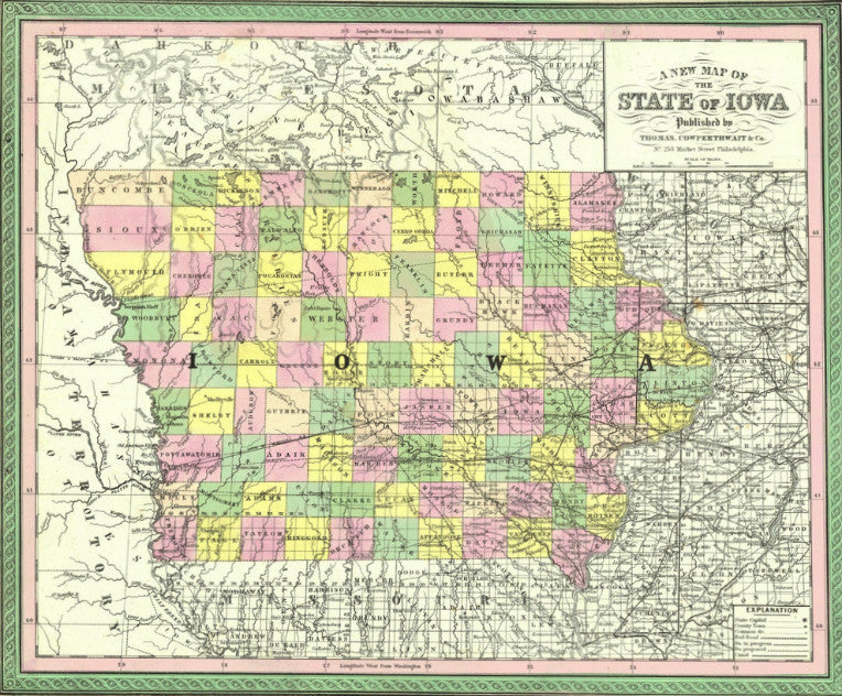Map of Iowa, 1850, Mitchell and Cowperthwait
