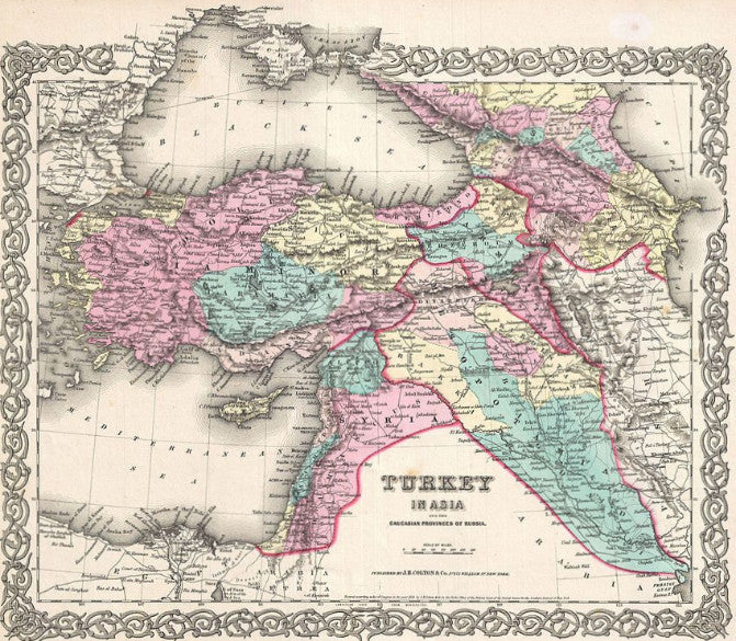 Map of Turkey in Asia and the Caucasian States of Russia. 1855, Colton
