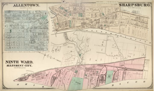 Hopkins' Map of Allegheny City's Ninth Ward, with Allentown and Sharpsburg, 1872