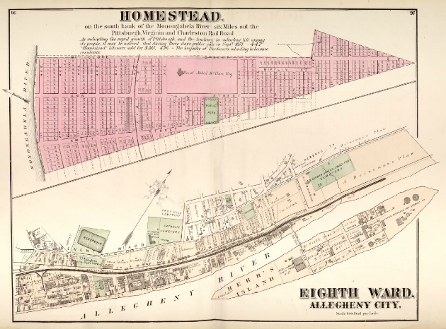 Hopkins' Map of Allegheny City's Eighth Ward and Homestead, 1872