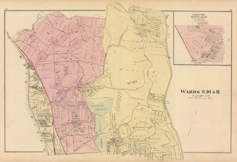 Hopkins' Map of Allegheny City's Ninth, Tenth and Eleventh Wards, 1872