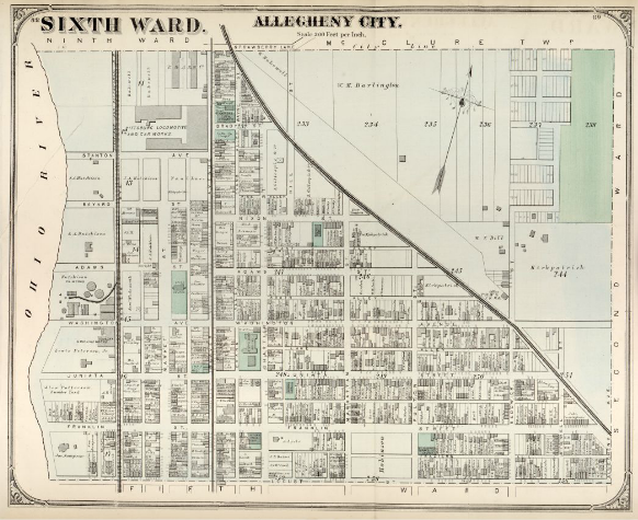 Hopkins' Map of Allegheny City's Sixth Ward, 1872