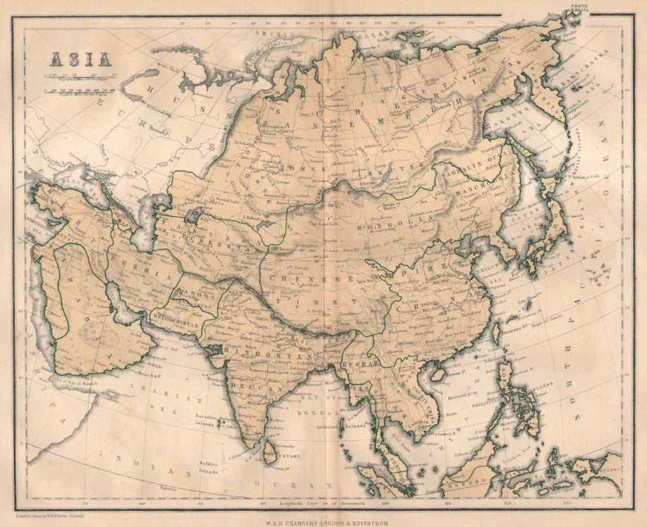 Map of Asia, c. 1860, Chambers