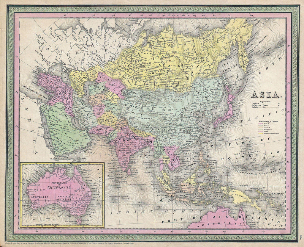 Map of Asia, 1850, Mitchell and Cowperthwait