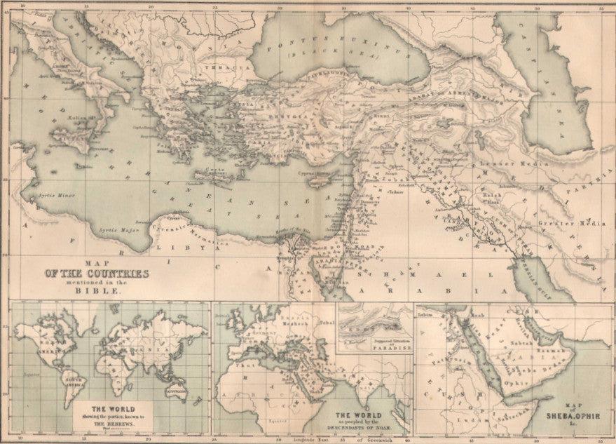 Map of the countries mentioned in the bible c 1860 chambers map of the countries mentioned in the bible c 1860 chambers gumiabroncs Image collections