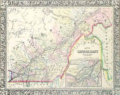 Map of Canada East, 1860, Mitchell