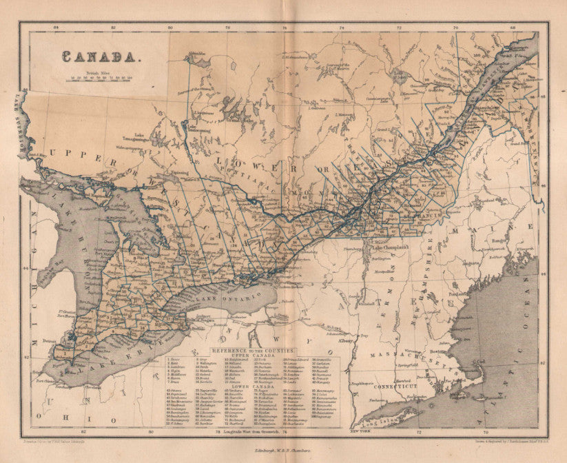 Map of Canada, 1863, Chambers