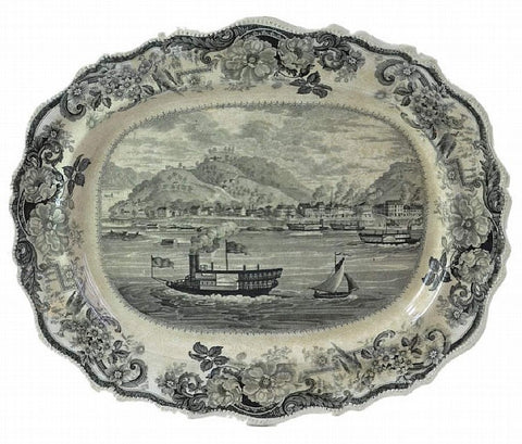 """City of Pittsburgh"" Staffordshire platter by James and Ralph Clews, c. 1830-35"