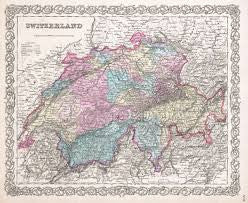 Map of Switzerland, Colton, 1855
