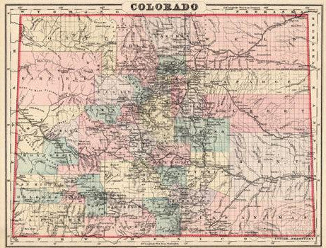 Map of Colorado, 1884, Mitchell