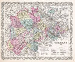 Map of Germany, Colton, 1855