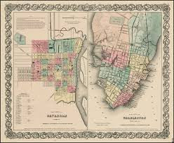 City Map of Savannah & Charleston, Colton, 1855