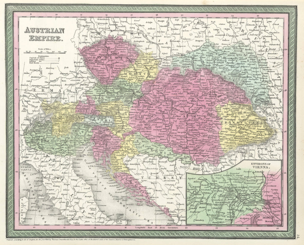 Map of the Austrian Empire, 1850, Mitchell and Cowperthwait