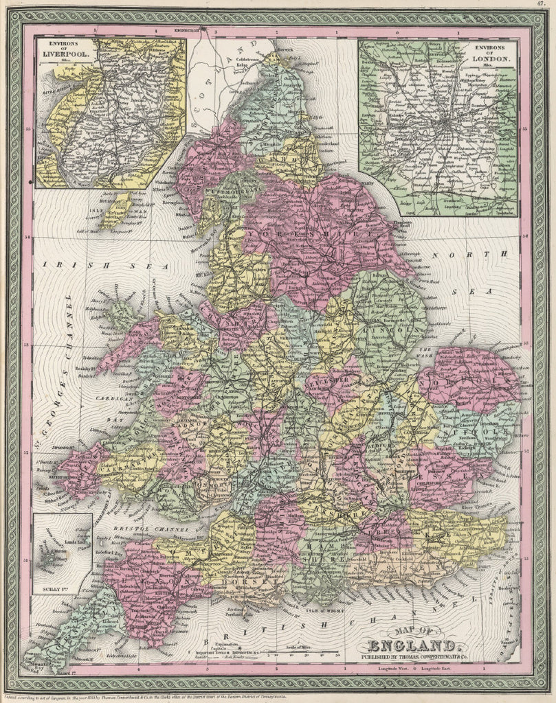 Map of England, 1850, Mitchell and Cowperthwait