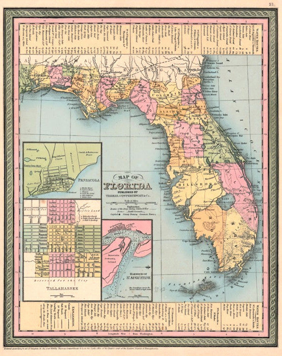 Map of Florida, 1850, Mitchell and Cowperthwait