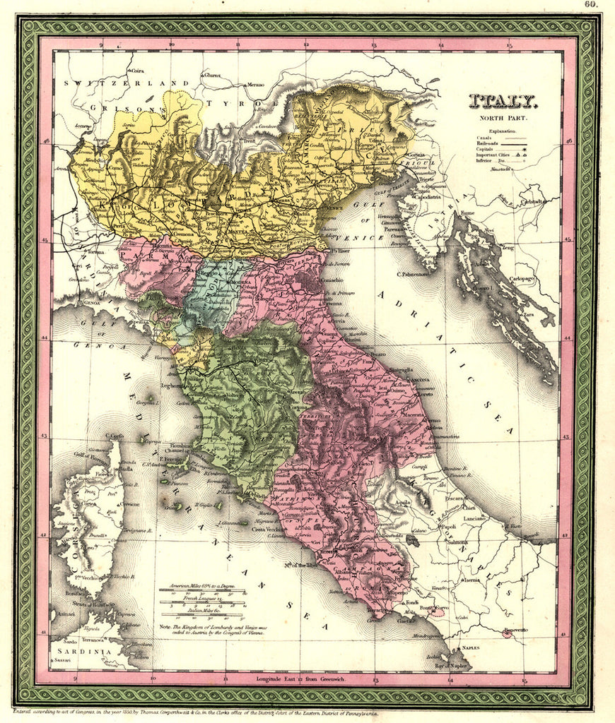 Map of Italy - North Part, 1850, Mitchell and Cowperthwait