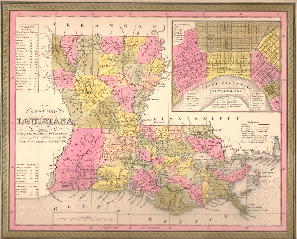 Map of Louisiana, 1850, Mitchell and Cowperthwait