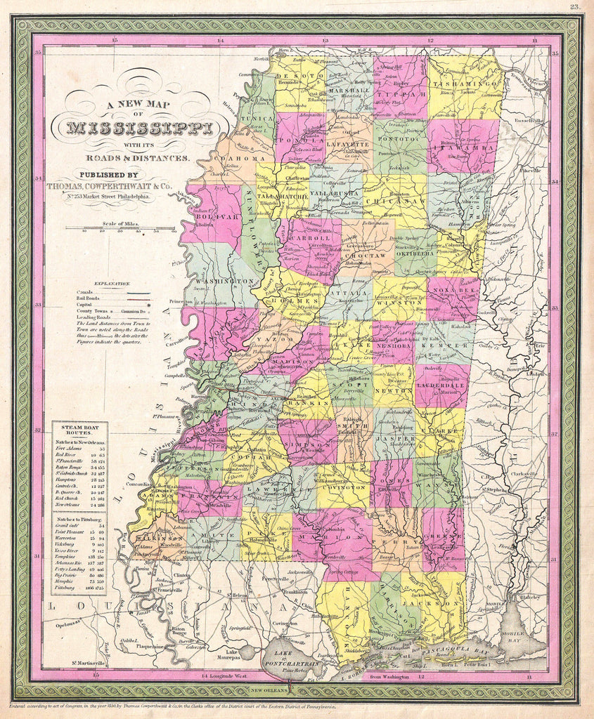 Map of Mississippi, 1850, Mitchell and Cowperthwait