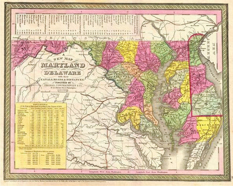 A New Map of Maryland and Delaware, 1850, Mitchell and Cowperthwait