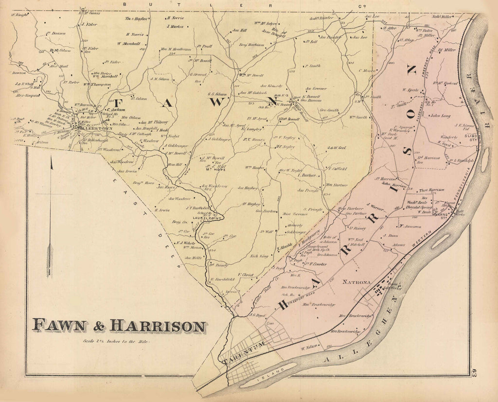 Hopkins' Map of Fawn, Harrison and Plum, 1876