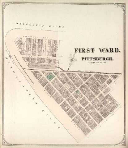 Hopkins' Map of Pittsburgh's First Ward, 1872
