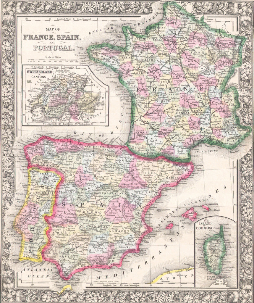 Map of France, Spain and Portugal, 1862, Mitchell
