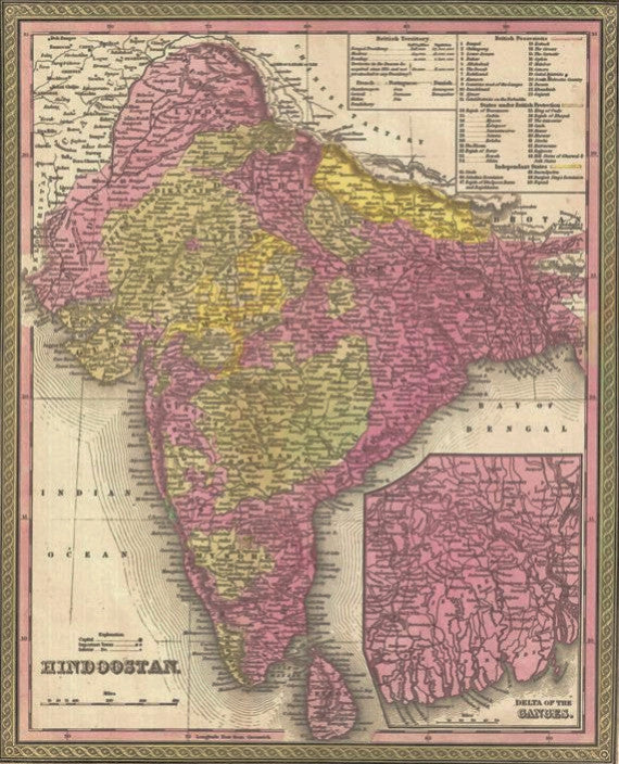 Map of Hindoostan, 1850, Mitchell and Cowperthwait