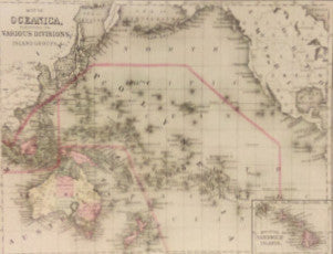Map of Oceanica, 1860, Mitchell and Cowperthwait