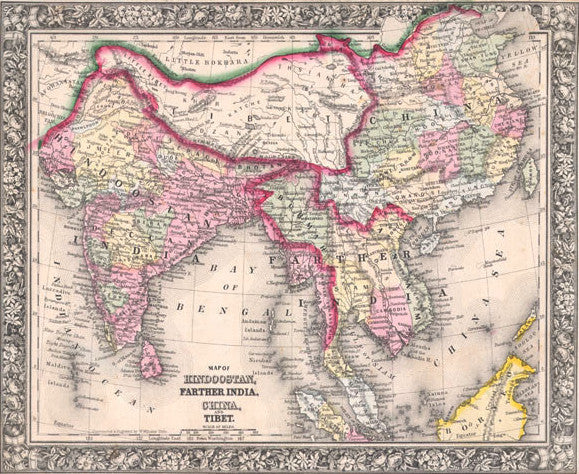Map of Hindoostan, Farther India, China and Tibet, 1860, Mitchell