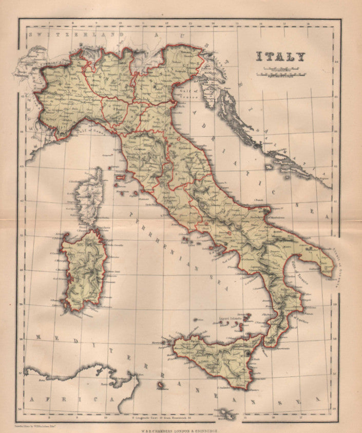 Map of Italy, c. 1860, Chambers