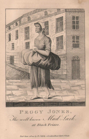 """Peggy Jones, The well-known Mud Lark, at Black Friars"" from the 1820 edition of Kirby's Wonderful and Eccentric Museum"