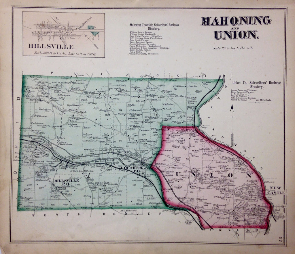 Mahoning and Union Townships, 1872, Hopkins