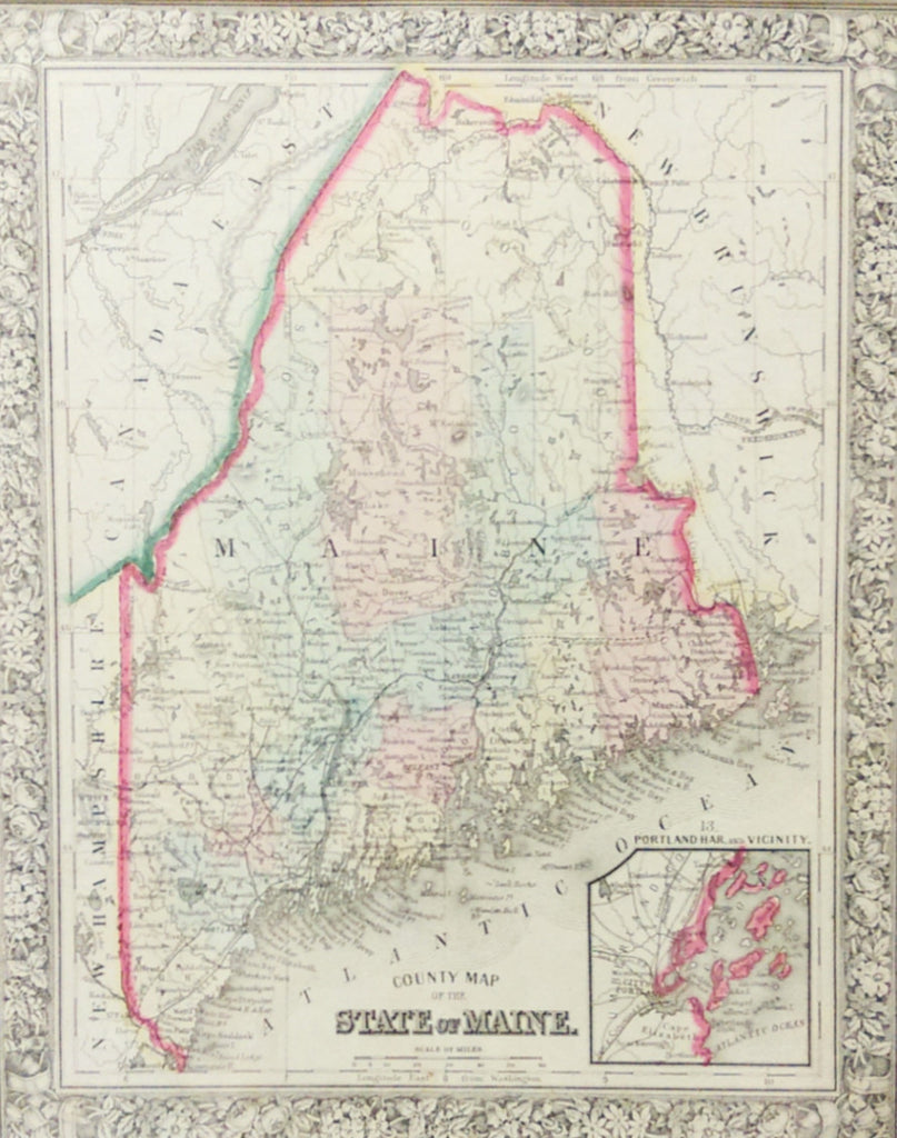 Map of Maine, 1860, Mitchell