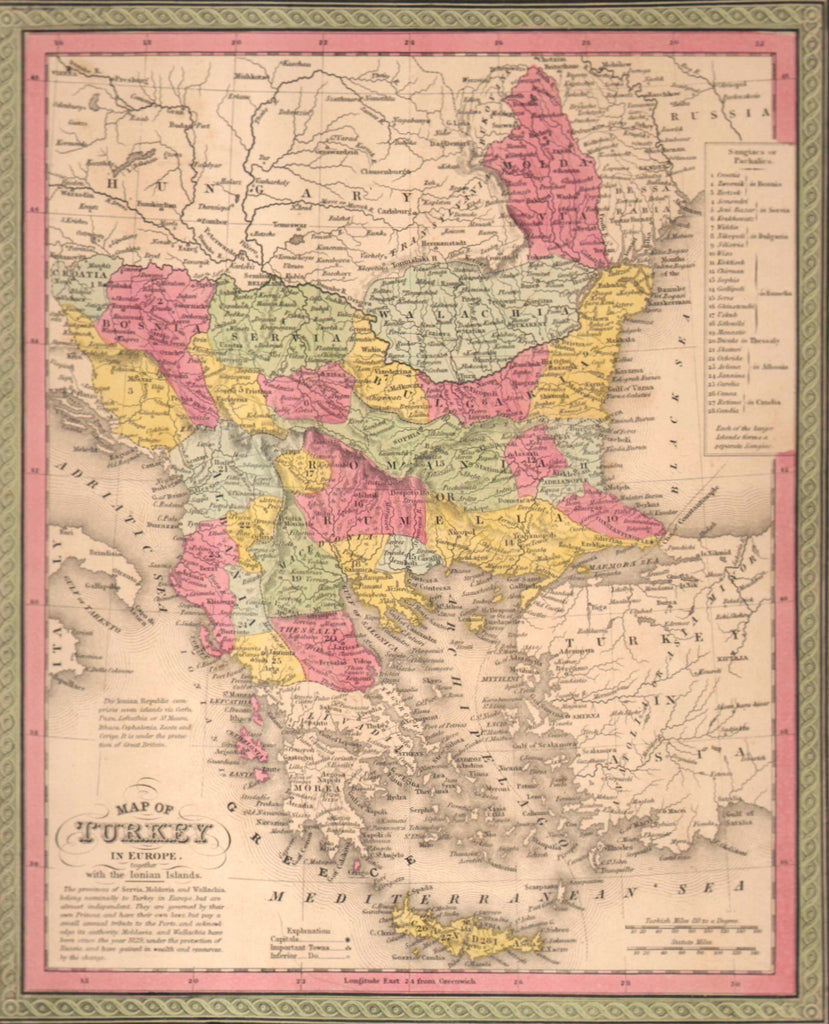 Map of Turkey in Europe, 1850, Mitchell and Cowperthwait
